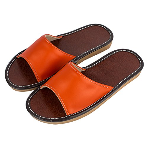 Women's Summer Open Toe Slippers Haisum PU Leather Flat House Indoor Sandals