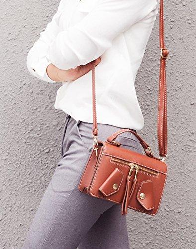 mano Mujer de MinottaUKD6026 Minotta Marrón Sintético elegante bolso Rojo de 6qC17xU
