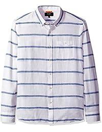 Jack Spade mens Long Sleeve Linen Horizontal Stripe Shirt