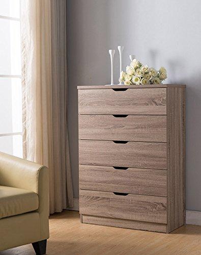 Five Drawer Dark Finish Bedroom - Smart home Eltra K Series 5 Drawers Chest Dresser (5 Drawers, Dark Taupe)