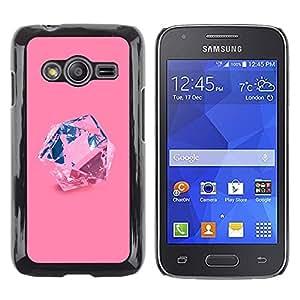 TopCaseStore / la caja del caucho duro de la cubierta de protección de la piel - Pink Diamond Blue Crystal Precious Stone - Samsung Galaxy Ace 4 G313 SM-G313F