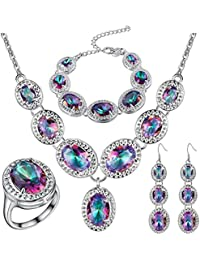 925 Sterling Silver Plated Jewelry Sets for Women Rainbow Mystic Topaz Ring Earring Necklace Set