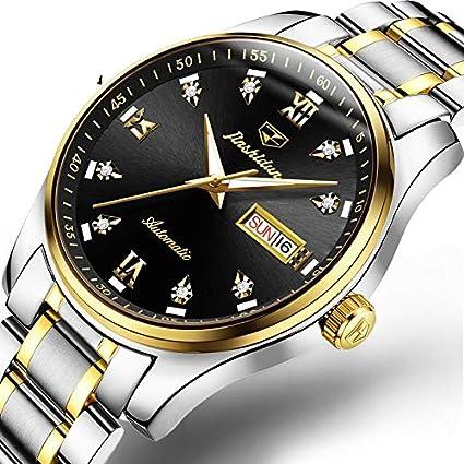 RTVDA nuevos Relojes mecánicos Impermeables Hombre automático Luminoso Acero Fino Calendario Doble Moda Hombres Relojes de