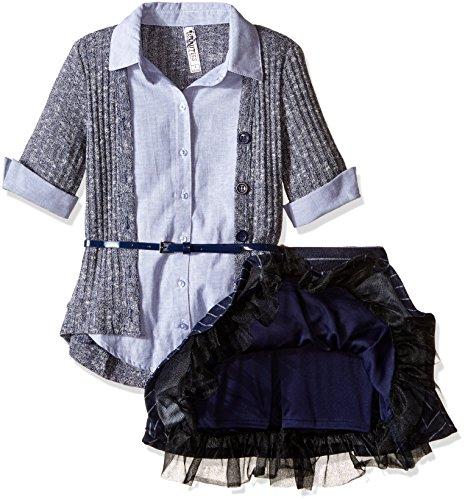 Beautees Big Girls' 2 Piece Collar Cuff with Skirt and Matching Tie, Navy, Medium