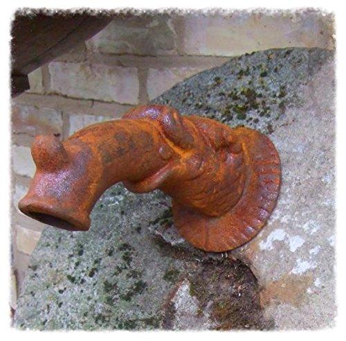 Antikas - gárgola desagüe de fuente como pez - salida de agua como animal fábula - desagüe jardín de hierro fundido