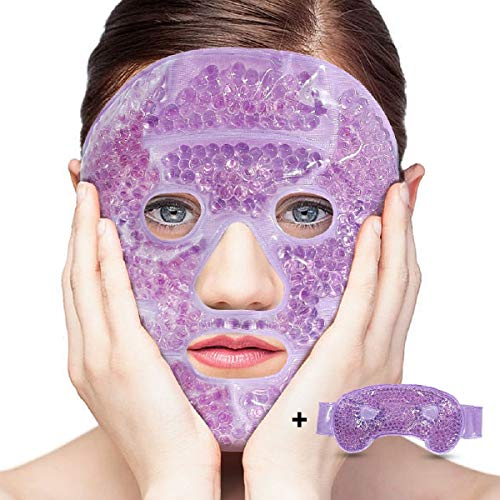 LifeWheel Plush Hot/Cold Therapy Facial Mask and Eye Mask with Gel Bead Stuffed Eco-Friendly Good for Reducing Eye Puffiness Dark Circle Bags Under Eyes Perfect Gift to Relieve Facial ()