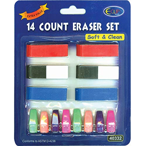 Neon 14 ct Eraser Set, Case Pack of 48, Ideal for Bulk Buyers