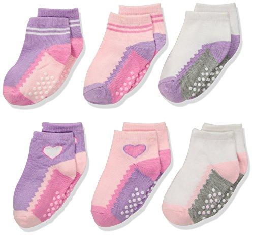 Jefferies Socks Girls Toddler Non-Skid Ankle Quarter Socks 6 Pair Pack
