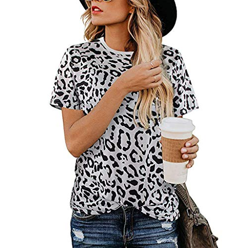 (DAYPLAY Fashion Women Leopard Printed Short Sleeve O-Neck T-Shirt Tops Blouse 2019 Womens Clothes Sale Gray)