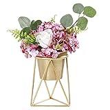 Plant Urns Planter Pot Indoor Geometric Metal Stand Balcony Tabletop Succulent Pot Bonsai Decorative Home Garden Kitchen Modern Plant Holder for Cactus Flower Plant (M)