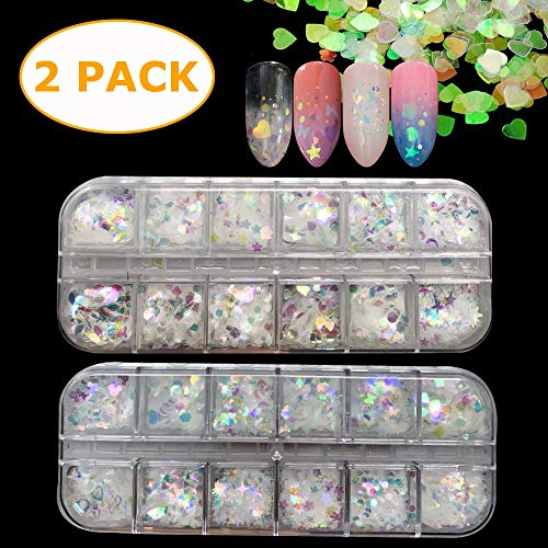 24 Boxes Glitter Sequins Holographic Nail Sequins Iridescent Mermaid Flakes Colorful Glitter Sticker DIY Decals Decoration ()