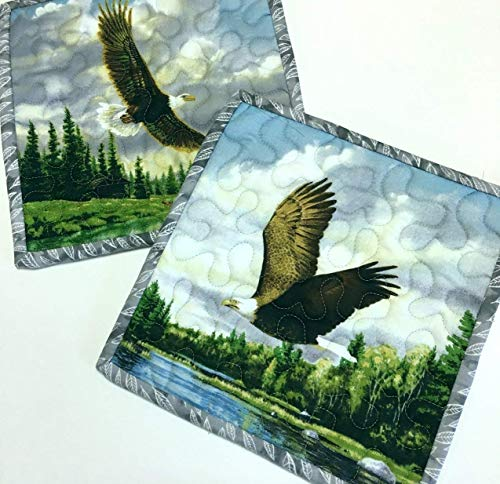 Handmade Pot Holders Eagles in Flight Hot Pads Quilted Set of Two