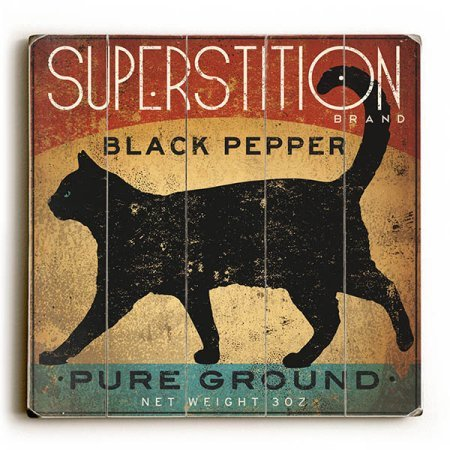 One Bella Casa Superstition Black Pepper Cat Planked Wood Wall Decor Size, Multicolor from One Bella Casa
