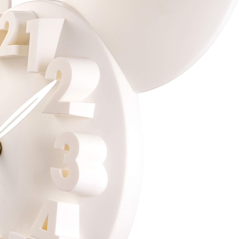 ufengke Orologio da Parete Bambini Topolino 3D Bianco Orologio da Muro al Quarzo Simpatici Cameretta Soggiorno 32 x 28 x 5 cm