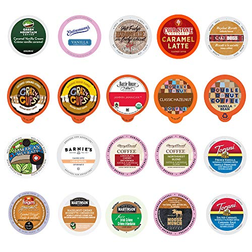 Perfect Samplers Premium Flavored Coffee Variety Pack, Single Serve Pods like Crazy Cups, Green Mountain, K-Cup for Keurig, Assorted 20 Count