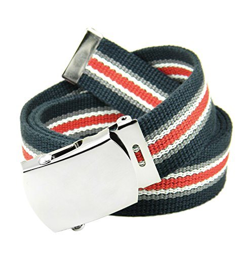 (Classic Silver Men's Military Slider Buckle with Canvas Web Belt Large Navy Red and White Stripe)