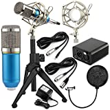 Recording Condenser Microphone, Stand, Shock Mount, Pop Filter, & Phantom Power Supply w/ Adapter Kit