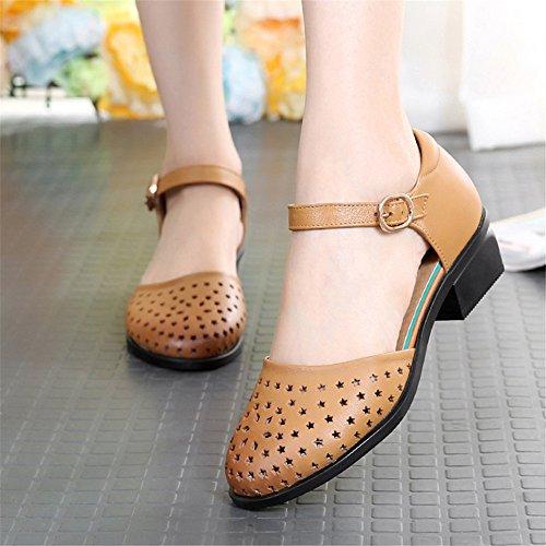 Sandalias Baotou Hollow Sandalias De Cuero Grueso Con Zapatos Zapatos De Verano Amarillo