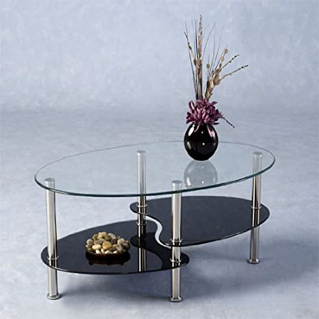 Harveys Coffee Table Clearblack Glass Amazoncouk