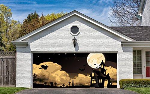 Halloween Garage Door Cover Decor Bats Night Sky Moon Bat Billboard Outside Decoration for House Garage Door Halloween (Halloween Decorations Garage Door)
