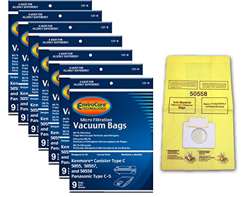 EnviroCare Replacement Vacuum Bags for Kenmore Canister Type C or Q 50555, 50558, 50557 and Panasonic Type C-5 63 Bags (Kenmore Model 116 Vacuum Bags)