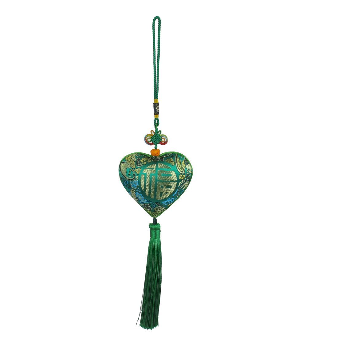 sourcingmap Heart-shape Fu Letter Print Chinese Herb Sachet Car Hang Decor Green a15092900ux0023