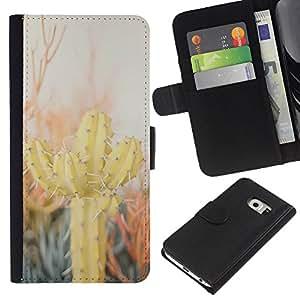iBinBang / Flip Funda de Cuero Case Cover - Cactus Desert Sun Espinas Plantas Naturaleza - Samsung Galaxy S6 EDGE SM-G925