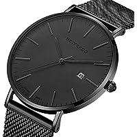 [Patrocinado] BETFEEDO - Reloj de pulsera para hombre, analógico de cuarzo, con fecha y correa de malla de acero inoxidable, color negro, Negro/Gris