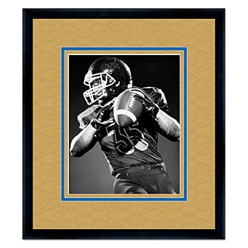 Wood Virginia University - Sports Frames West Virginia University Black Wood Frame with Mountaineers Triple Mat Colors - Made to Display 16