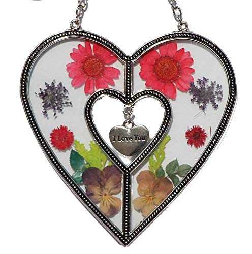 Tiffany Lamp & Gift Factory Love Heart Love Suncatcher with Pressed Flower Heart - Heart Suncatcher - Love Gifts Gift for Lover's Day (4.754.75) by Tiffany Lamp & Gift Factory