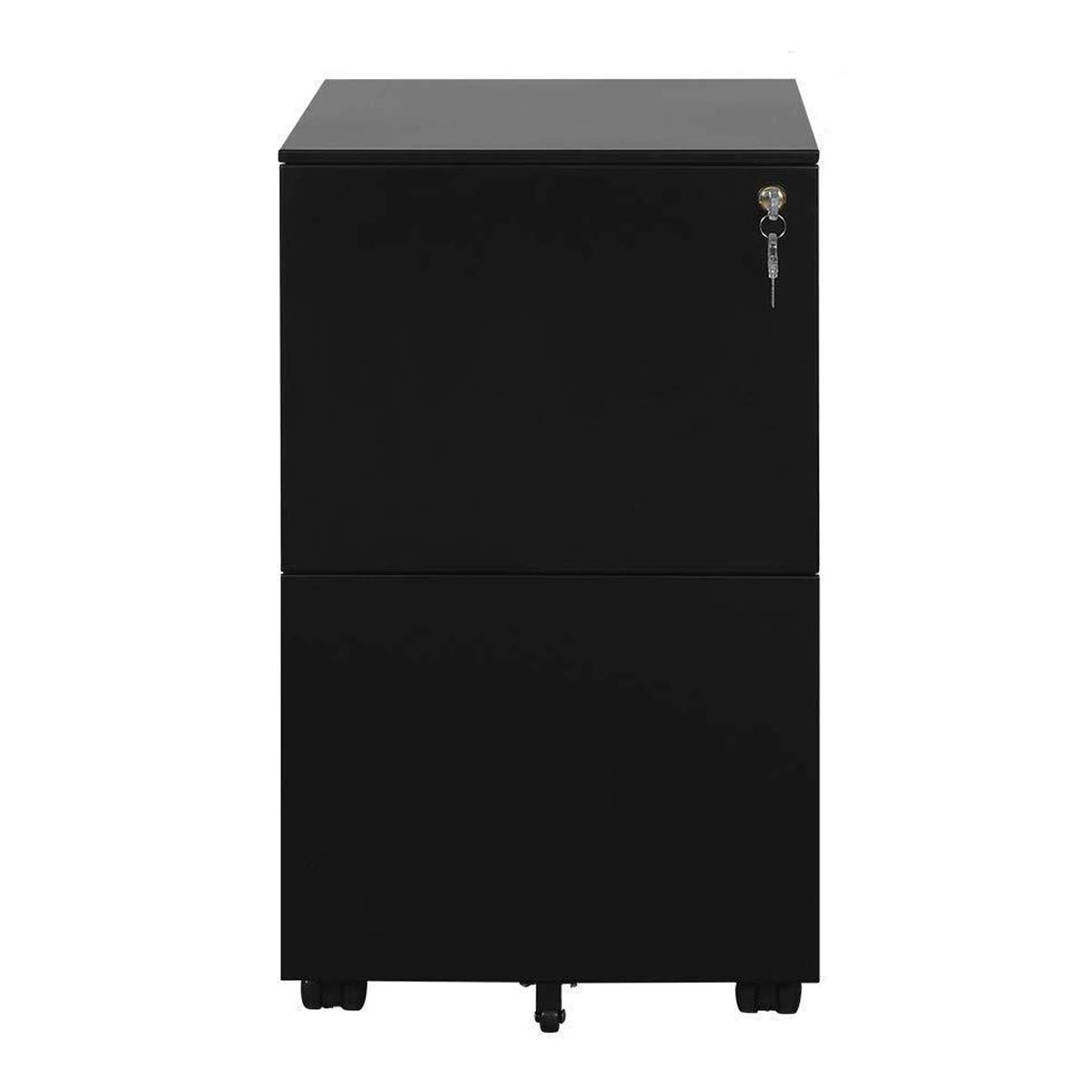 DEVAISE Metal Mobile File Cabinet with Lock (2 Drawer Black)