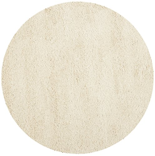 Acrylic Contemporary Rug (Safavieh California Premium Shag Collection SG151-1212 Ivory Round Area Rug (4' Diameter))