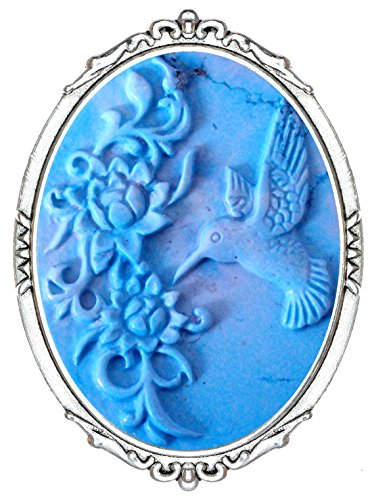 Yspace Fashion Brooch Pin Shield Decor Antique Brass Cameo Jewelry Pouch for Gift (Carving Hummingbird)