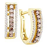 14kt Yellow Gold Womens Round Cognac-brown Color Enhanced Diamond Hoop Earrings 1/2 Cttw