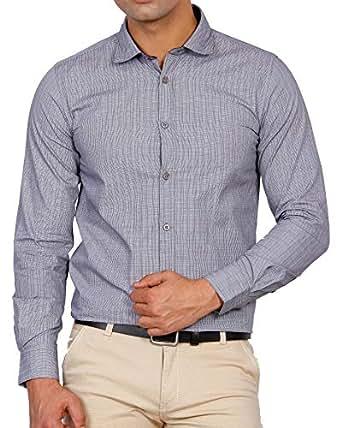 D Indian Club Formal Grey Self Checks Shirt L 40