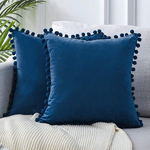 Top Finel Decorative Throw Pillow Covers with Pom Poms Soft Particles Velvet Solid Cushion Covers 18 X 18 for Couch Bedroom Car, Pack of 2, Navy