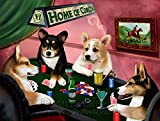 Home of Welsh Corgi 4 Dogs Playing Poker Art Portrait Print Woven Throw Sherpa Plush Fleece Blanket (60x80 Fleece)