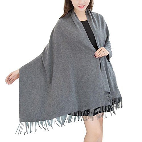 Price comparison product image Pashmina, Kimloog Women Men Warm Large Soft Cashmere Tassel Solid Shawl Wrap Scarves (Gray)