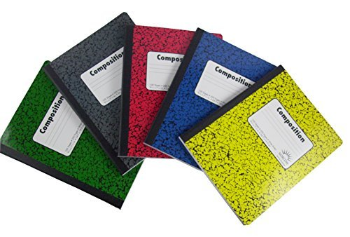 Norcom Wide Ruled 100 Sheets Composition Notebooks 5-Pack - Green, Red, Yellow and Blue, Black/Gray (Variety) by Norcom