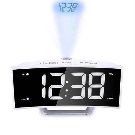 Proyección Digital Despertador Espejo FM Radio LED Mesa ...