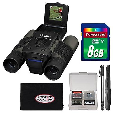 Vivitar 12x25 Binoculars with Built-in Digital Camera with 8GB Card + Monopod + Accessory Kit (Binocular Vivitar)