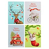 norman york - Set of 24 Christmas and Holiday Cards | 4 Designs | Large Size -- 5 by 7 inches | Thick Cardstock | Includes Red Envelopes | Adorable Animals!