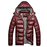 Realdo Men's Winter Warm Coat, Mens Casual Daily Removable Hat Thickening Down Cotton Padded Parka(X-Small,Red)