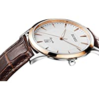 BUREI Men Simple Ultra-Thin Quartz Watch Analog Dial with Date Window Rose Gold Stainless Steel Case Genuine Leather Strap