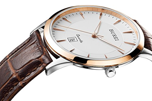 BUREI Men Simple Ultra-Thin Quartz Watch Analog Dial with Date Window Rose Gold Stainless Steel Case Genuine Leather Strap Face Sapphire