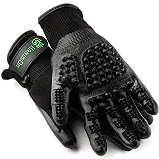 Handson Pet Grooming Gloves - #1 Ranked, Award Winning Shedding, Bathing, Hair Remover Gloves - Gentle Brush for Cats, Dogs, and Horses (Black, Small)