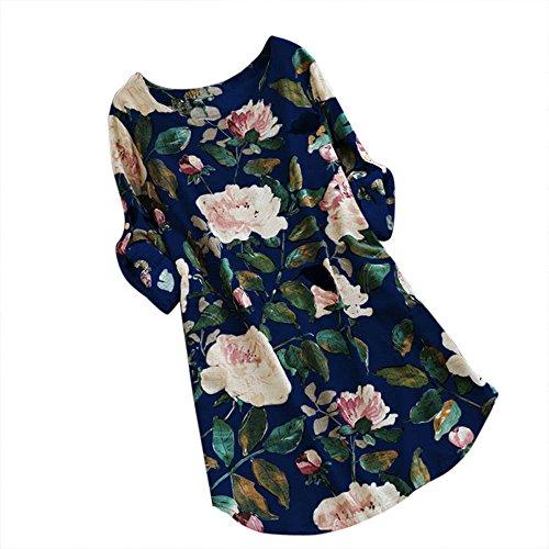 Women Floral Dress, 2018 Ladies Print Mini Dress Summer Party Long Long Sleeve Dress Plus Size (Blue, 2XL) -