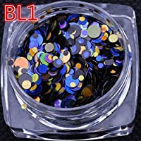 AiCheaX A-Nail 1g/ Box Holographic 12 Colors Nail Glitter Round Shapes Confetti Sequins Acrylic Tips UV Gel Polish Nail Art Decoration - (Color: BL 1)