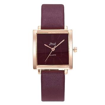 Wind Goal Relojes de portería de Viento para Mujer Simples y Elegantes Relojes de Pulsera Cuadrados de Cuero Banda de Cuarzo Relojes Pulsera Relojes: ...