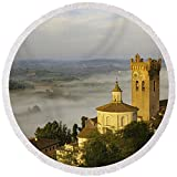 Pixels Round Beach Towel With Tassels featuring ''San Miniato'' by Brian Jannsen